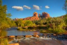 Often photographed yet still beautiful scene of Cathedral Rock and Oak Creek near Sedona, Arizona